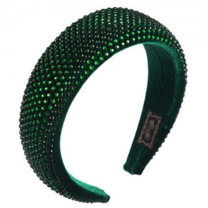 Resin Beads All-over Decorated Solid Color Bold Fashion Women Hair Hoop - Green