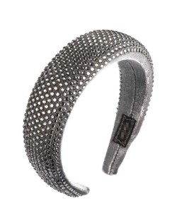 Resin Beads All-over Decorated Solid Color Bold Fashion Women Hair Hoop - Gray