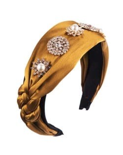 Luxurious Fashion Rhinestone and Pearl Embellished Cloth Women Hair Hoop - Yellow