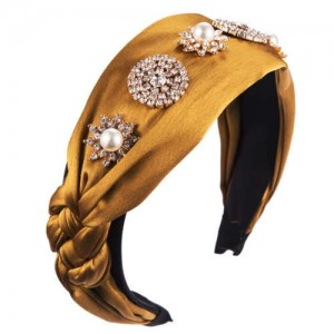 Luxurious Fashion Rhinestone and Pearl Embellished Cloth Women Hair Hoop - Yellow