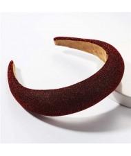 Korean Fashion Premium Silk Cloth Solid Color Women Hair Hoop - Red