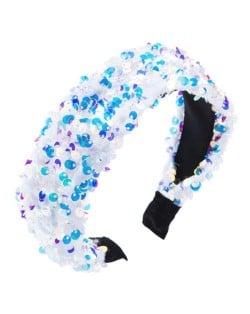 Shining Sequins Embellished Flannelette Women Hair Hoop - White