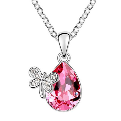 Butterfly Lady Design Oval-shaped Crystal Pendant Necklace - Rose