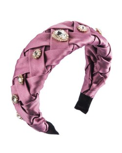 Glistening Glass Gems Decorated Weaving Pattern Fashion Cloth Women Hair Hoop - Purple