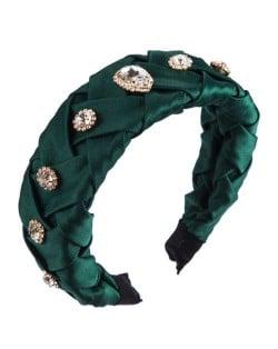 Glistening Glass Gems Decorated Weaving Pattern Fashion Cloth Women Hair Hoop - Green