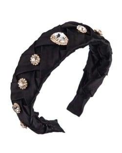 Glistening Glass Gems Decorated Weaving Pattern Fashion Cloth Women Hair Hoop - Black