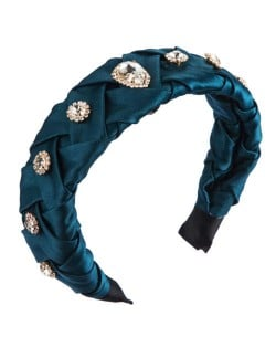 Glistening Glass Gems Decorated Weaving Pattern Fashion Cloth Women Hair Hoop - Ink Green