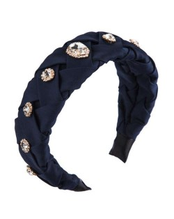 Glistening Glass Gems Decorated Weaving Pattern Fashion Cloth Women Hair Hoop - Dark Blue