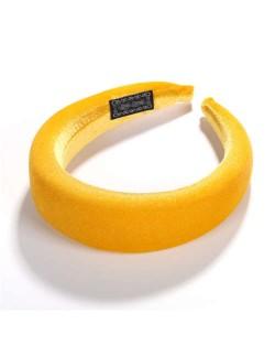 High Fashion Solid Color Velvet Women Hair Hoop - Yellow