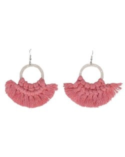 Cotton Threads Hoop Fashion Handmade Women Statement Earrings - Pink