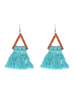 Cotton Threads Triangle Shape Handmade Women Fashion Earrings - Teal