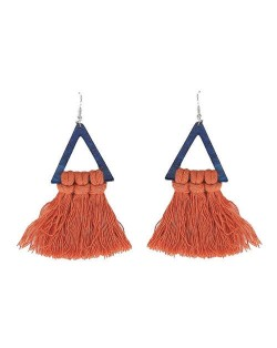 Cotton Threads Triangle Shape Handmade Women Fashion Earrings - Orange