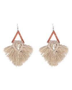 Cotton Threads Triangle Shape Handmade Women Fashion Earrings - Khaki and Brown