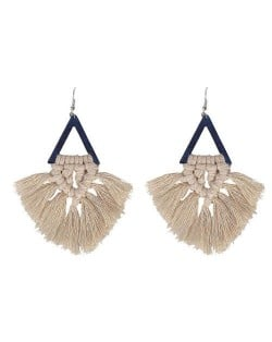 Cotton Threads Triangle Shape Handmade Women Fashion Earrings - Khaki and Black