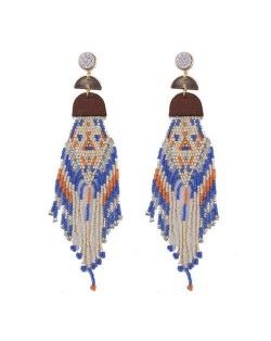 Bohemian Fashion Beads Long Tassel Bold Style Women Statement Earrings - Blue
