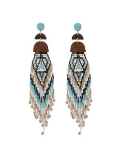 Bohemian Fashion Beads Long Tassel Bold Style Women Statement Earrings - Teal