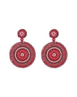 Bohemian Style Mini Beads Round Design High Fashion Women Earrings - Red