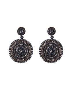 Bohemian Style Mini Beads Round Design High Fashion Women Earrings - Black