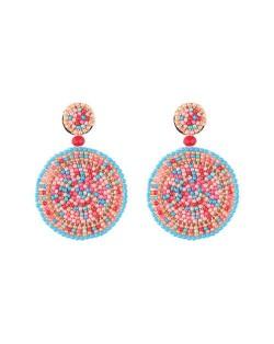 Bohemian Style Mini Beads Round Design High Fashion Women Earrings - Multicolor