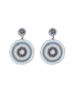 Bohemian Style Mini Beads Round Design High Fashion Women Earrings - Gray