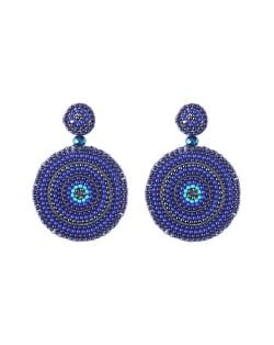 Bohemian Style Mini Beads Round Design High Fashion Women Earrings - Blue