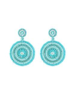 Bohemian Style Mini Beads Round Design High Fashion Women Earrings - Teal