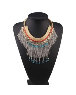 Blue and Red Gems Embellished Chain Tassel Design High Fashion Women Bib Necklace