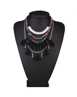 Multi-layer Beads and Cotton Threads Tassel High Fashion Design Women Bib Statement Necklace - Black