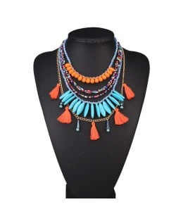 Multi-layer Beads and Cotton Threads Tassel High Fashion Design Women Bib Statement Necklace - Orange