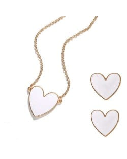 Oil-spot Glazed Heart Fashion Necklace and Earrings Set - White