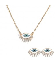 Blue Eye Design High Fashion Women Necklace and Earrings Set