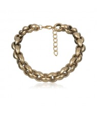 Dark Golden Alloy Shell Pattern Chain Design Women Fashion Necklace