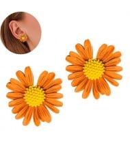 Graceful Daisy Design Korean Fashion Women Earrings - Golden Yellow