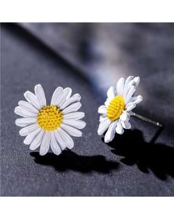 Graceful Daisy Design Korean Fashion Women Earrings - White