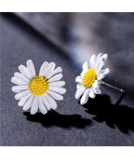 Graceful Daisy Design Korean Fashion Women Earrings - White
