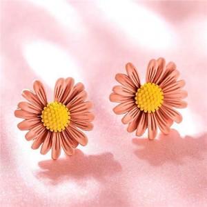 Graceful Daisy Design Korean Fashion Women Earrings - Pink