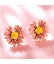 Graceful Daisy Design Korean Fashion Women Earrings - Pink