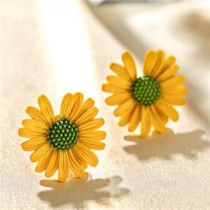 Graceful Daisy Design Korean Fashion Women Earrings - Yellow