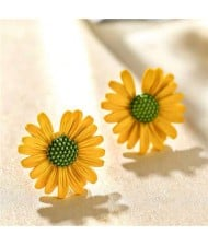 Graceful Daisy Design Korean Fashion Women Earrings - Yellow