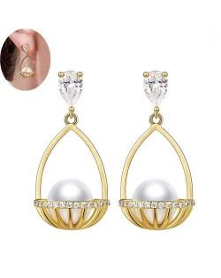 Pearl Inlaid Basket Design Bling Bling Fashion Women Ear Studs