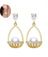 Pearl Inlaid Basket Design Bling Bling Fashion Women Ear Studs