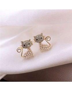 Rhinestone and Pearl Embellished Cute Cat Design Korean Fashion Women Earrings