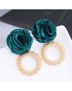 Cloth Flower and Alloy Hoop Design Women Fashion Earrings - Green