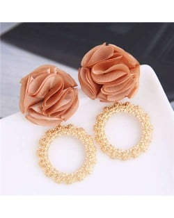 Cloth Flower and Alloy Hoop Design Women Fashion Earrings - Brown