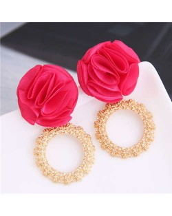 Cloth Flower and Alloy Hoop Design Women Fashion Earrings - Rose