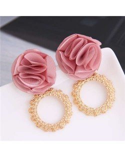 Cloth Flower and Alloy Hoop Design Women Fashion Earrings - Pink