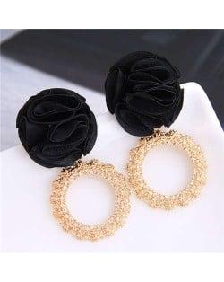 Cloth Flower and Alloy Hoop Design Women Fashion Earrings - Black