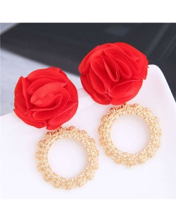 Cloth Flower and Alloy Hoop Design Women Fashion Earrings - Red