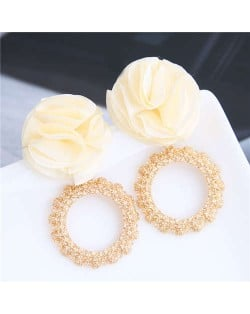 Cloth Flower and Alloy Hoop Design Women Fashion Earrings - White