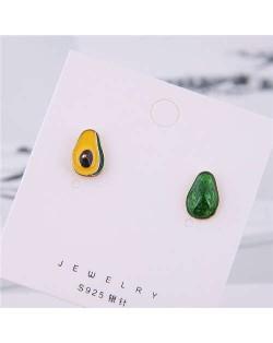 Avocado Transection Asymmetric Design Women Alloy Fashion Earrings